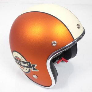 CASQUE MOTO SCOOTER Casque bol jet Torx Wyatt orange beige mat Taille