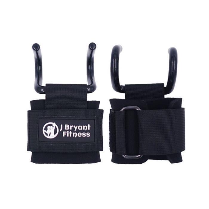 1 paire acier haltérophilie crochet réglable Fitness poignet soutien sangles crochet gymnastique pour bras musculation [13D5592]