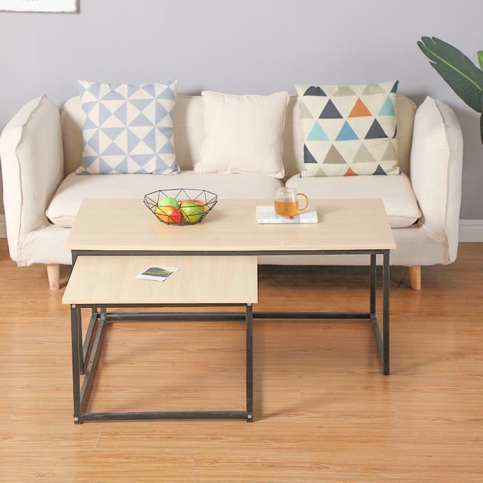 Lot de 2 Table Basse Gigognes Pieds en Métal Noir Design Industriel L113xL60CM et L100xL60CM