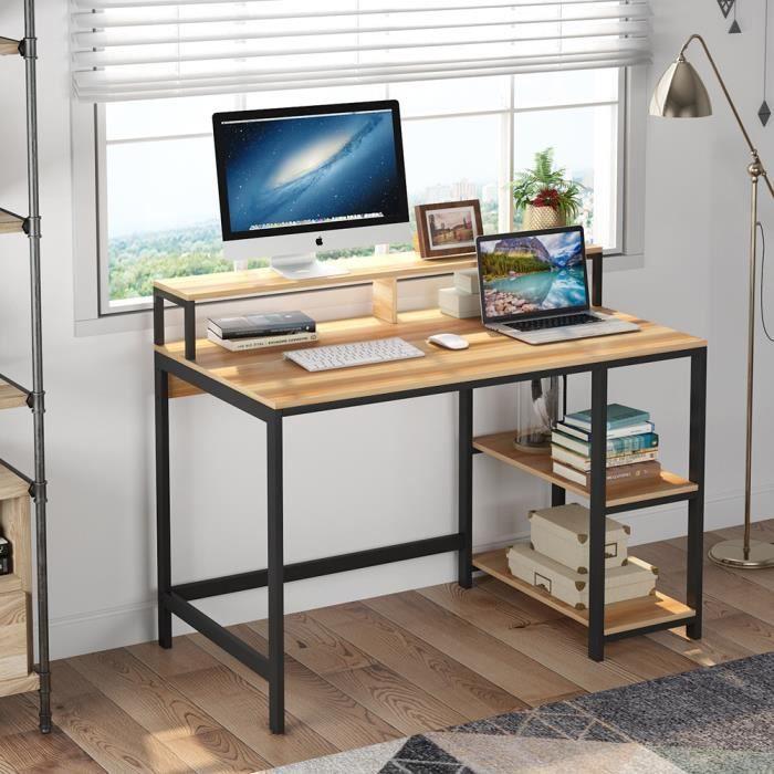 Bureau d'ordinateur de bureau avec huche et 2 étagères de rangement Station de travail de table d'étude de travail -Bois d'érable