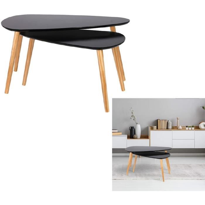 THE HOME DECO FACTORY HD6404 Table Gigogne Bois Galet Noir, MDF, 80 x 50 x 40 cm168