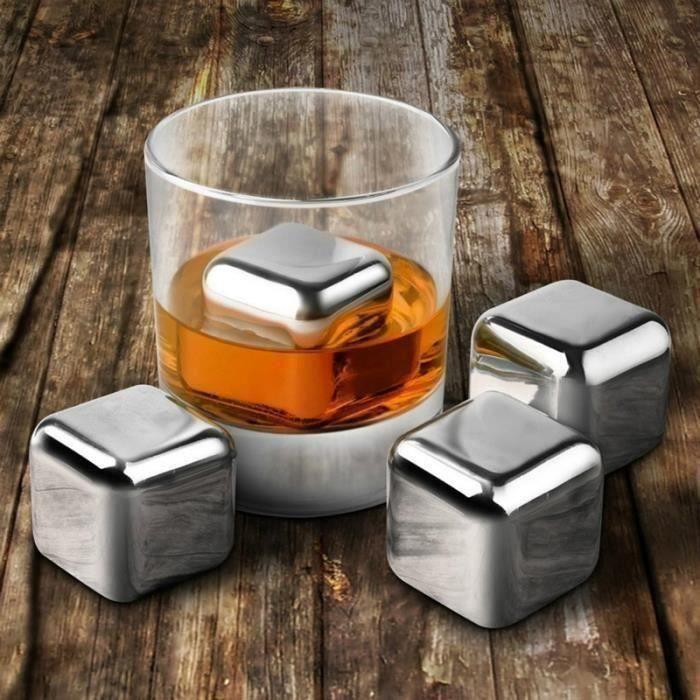8 Pcs Acier Inoxydable 304 Pierres De Vin Whisky Refroidisseur Reutilisable Boule De Cubes De Glace Avec Clip De Glace