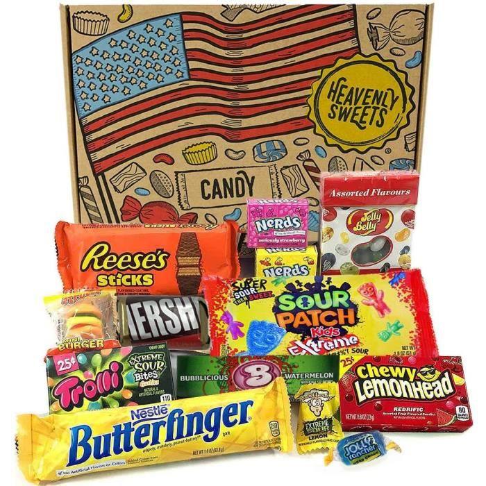 Boite de Bonbons et Chocolat - Assortiment Américain de Friandises - Panier Cadeau pour Enfant et Adulte - Anniversaire, Noël, Calen