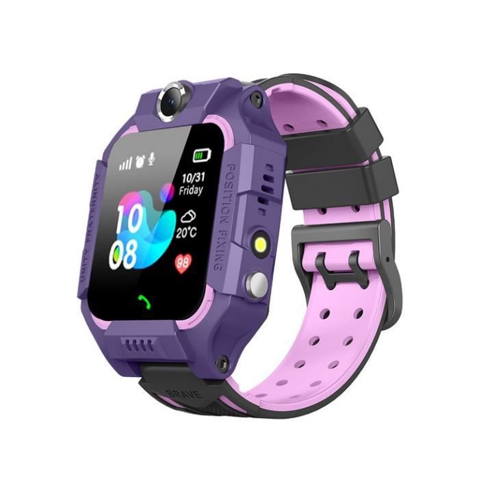 La montre-téléphone pour enfants de six générations, la montre de positionnement imperméable pour étudiants, la montre Garçon Violet
