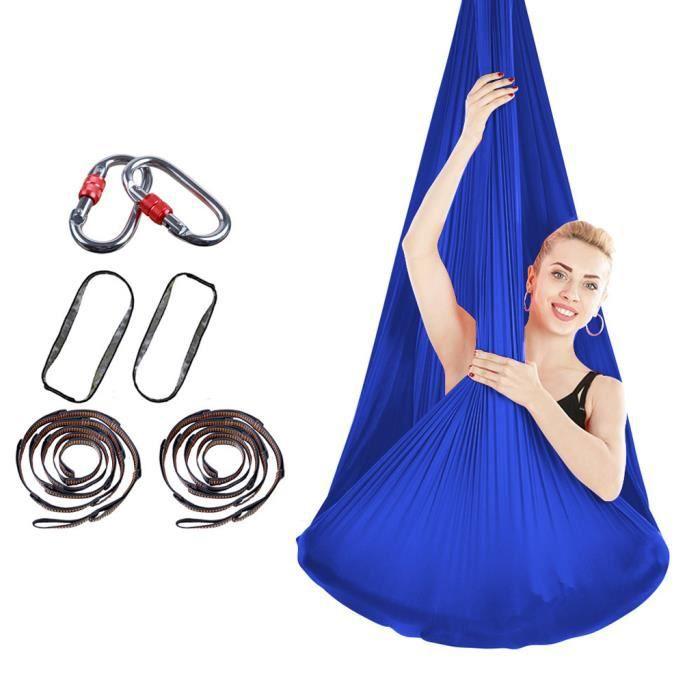 Yoga Hamac Balançoire Nylon Bande élastique Durable Élastique Aérien -bleu