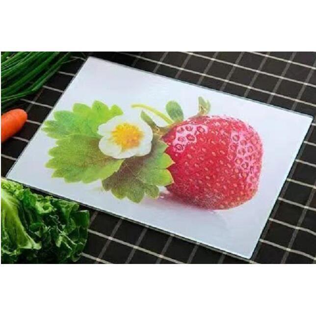 Planche à découper,Planche à découper en verre trempé Planche à découper pour fruits, plaque de légumes - Type strawberry-350x250mm