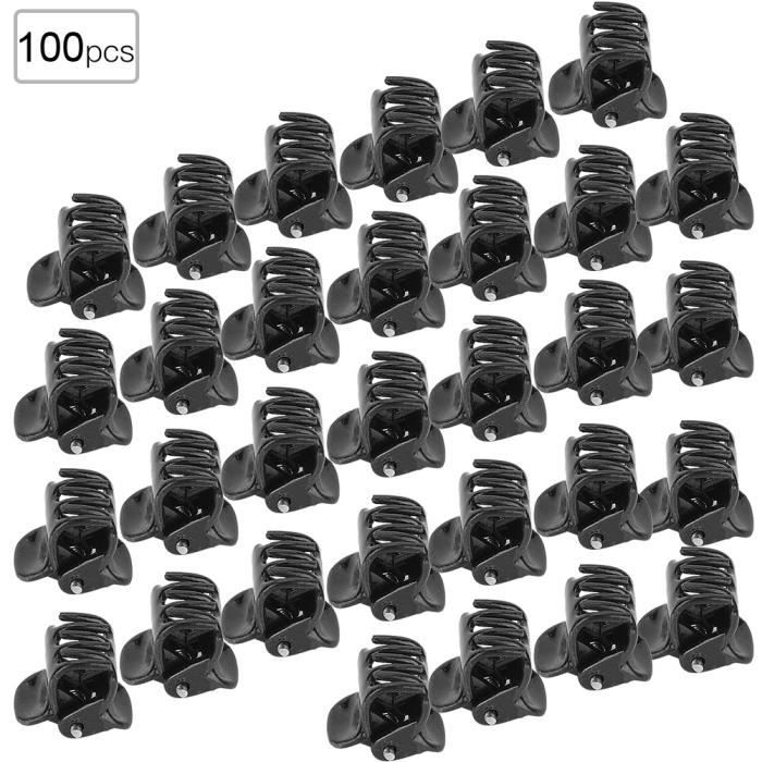 Qiilu petite pince à griffes 100 pièces en plastique noir Mini Clips petites griffes pince à cheveux pince vêtements accessoires