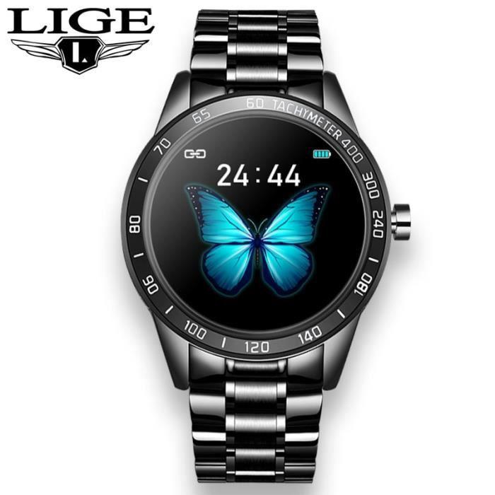 Montre connectée,2020New acier bleu montre intelligente Reloj Inteligente IP67 GPS pour Android iPhone smartwatch - Type Black S
