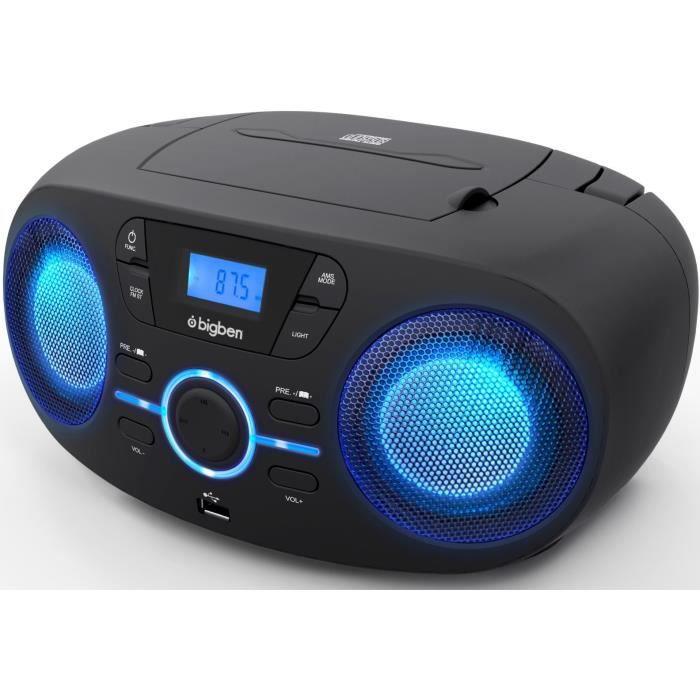 BIGBEN CD61NUSB - Lecteur CD/USB portable avec effets lumineux - Radio FM - Afficheur LCD - Prise casque