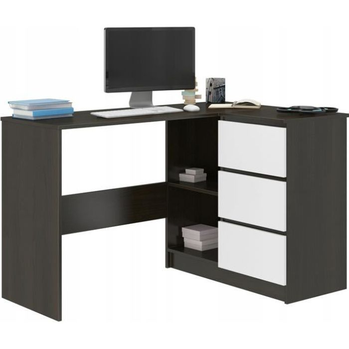 REX W - Bureau d'angle avec rangements + 3 tiroirs - 112x87x76 cm - Table d'ordinateur - Table de travail - Wengé Blanc