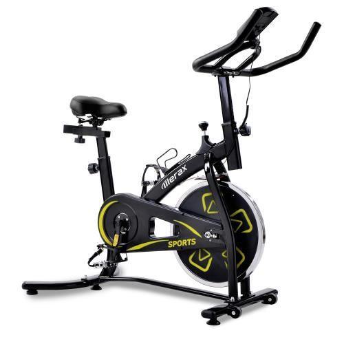 KirinSport Vélo d'exercice Vélo de cyclisme en Salle avec Volant d'inertie 8 kg Console LCD Siège Guidon réglables Noir jaune