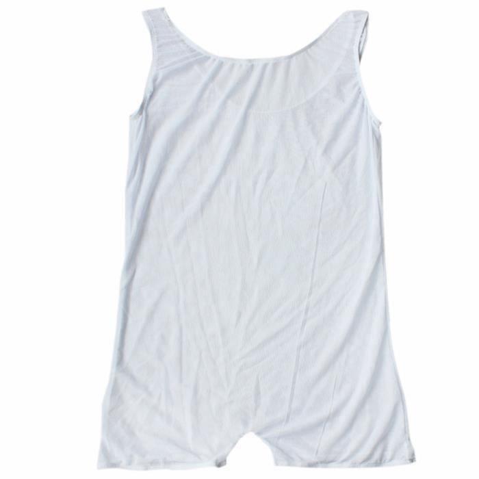 Body Homme Sexy Transaprent Combinaison Boxer Erotique Lingerie Leotard Jumpsuit Blanc