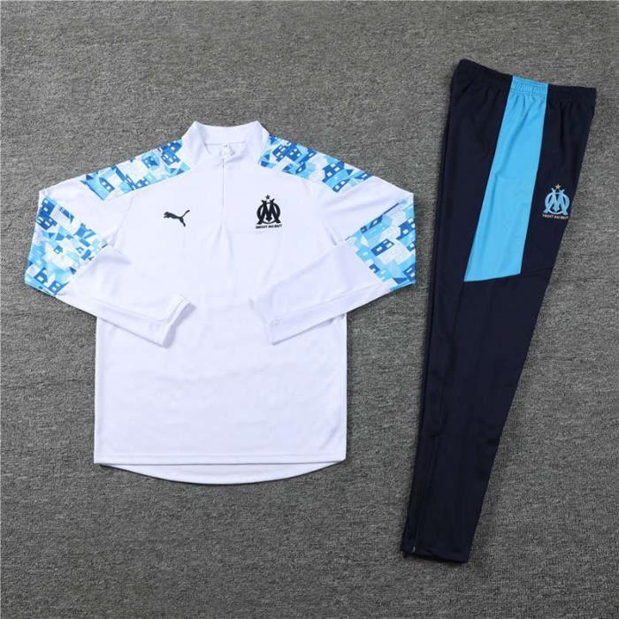 OM Marseille - Maillot de Football Enfants Garçon Homme 2020-2021 Ensemble Survêtements D'entraînement de Football(Haut + Pantalon)