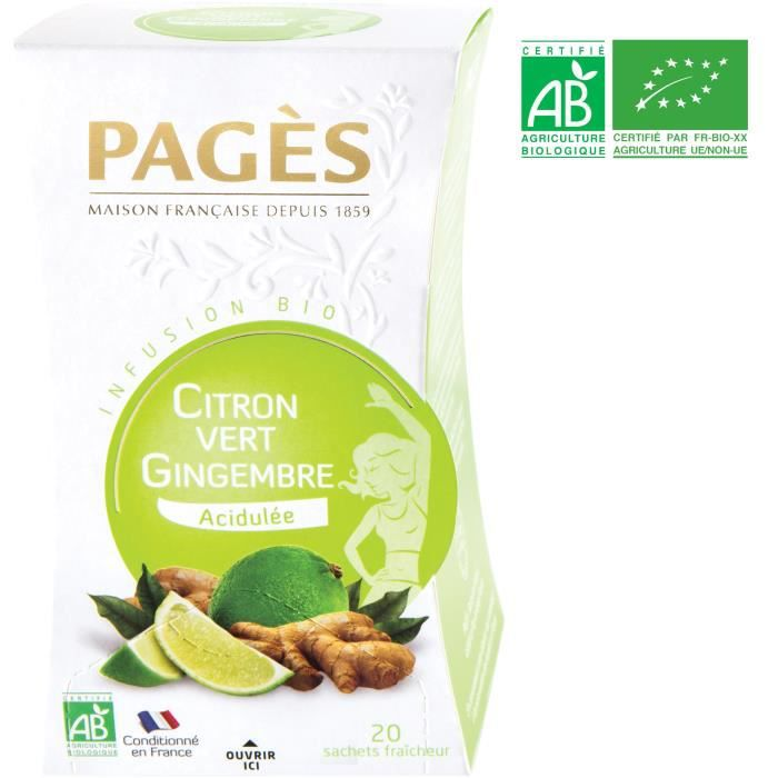 PAGES Infusion Citron Vert - Gingembre - Bio