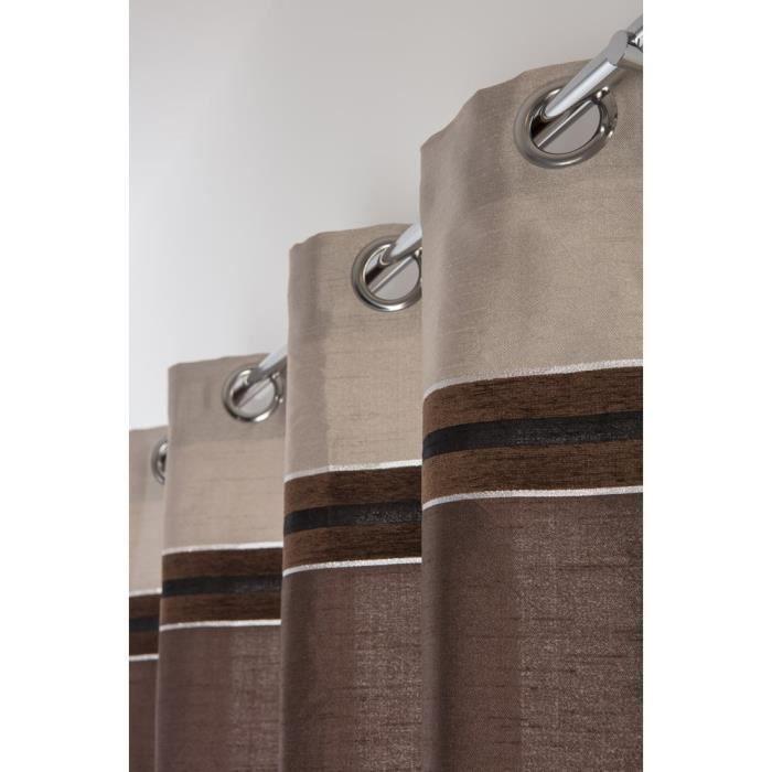 Rideau 140 x 240 cm à Oeillets Beige à Rayures Chocolat et Argenté MARRON