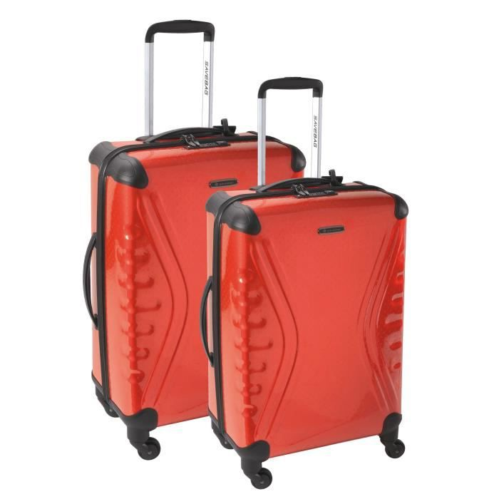SAVEBAG Set de 2 valises 4 roues CARBOSITE - Rouge