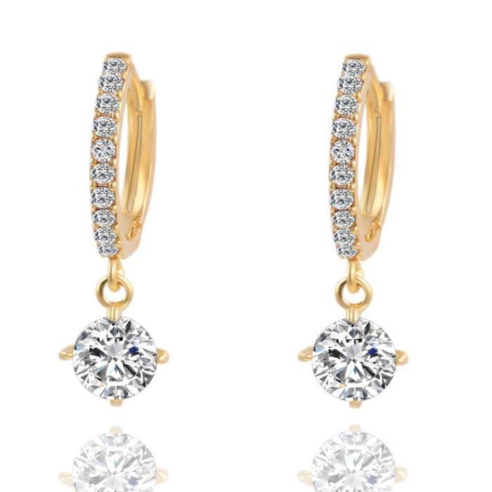 Boucles d'oreille géométriques en cristal rond en or Boucles d'oreilles en or zircon pour femmes