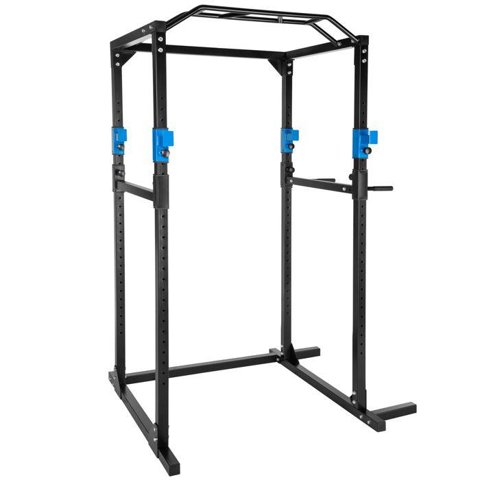 TECTAKE Cage de Musculation Traction Squats Dips 4 Supports pour Haltères 120 cm x 142,5 cm x 215 cm Noir