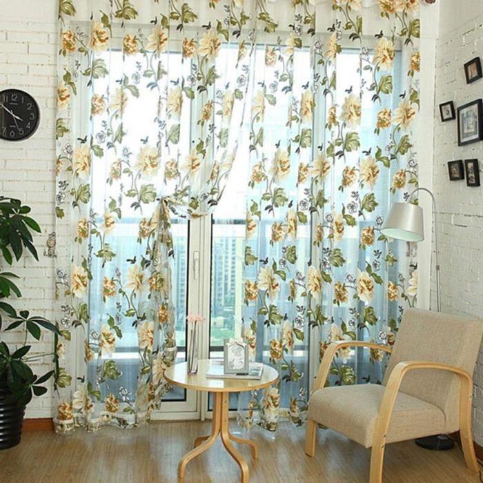 2#^AOLVO Fleur Rideau Transparent Tulle Rideaux Semi Voilage Vitrage fenêtre dépistage Soins Salon Enfants Chambre à Cou