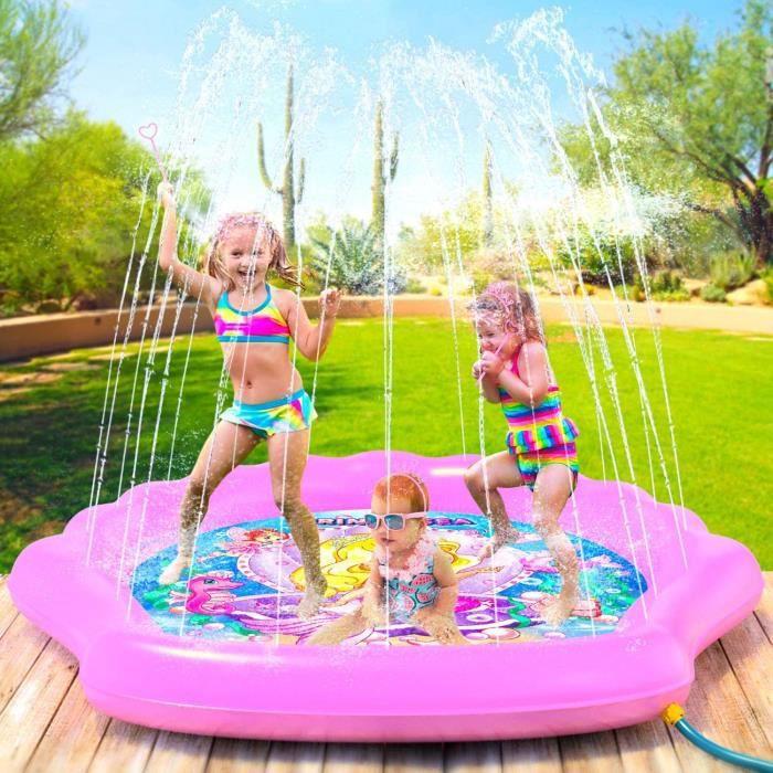Tapis de jeu pour fille 170cm de diamètre Coussinets d'extérieur Sirène Jouets Pataugeoires gicleurs Piscine gonflable pour enfants