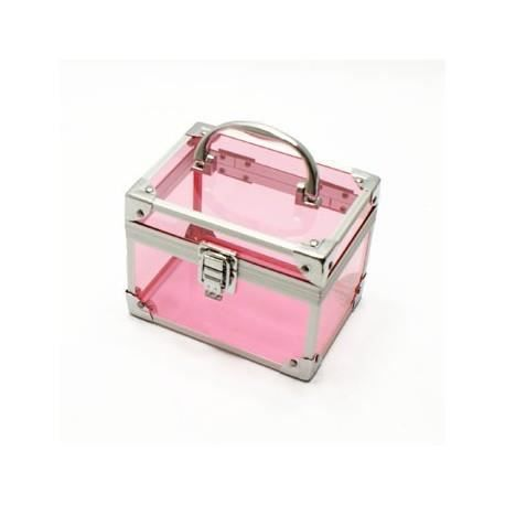 valise de rangement rose transparente pour maquillage. Black Bedroom Furniture Sets. Home Design Ideas