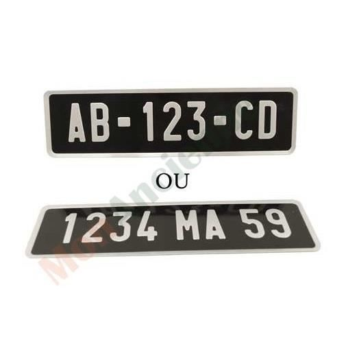 plaque d 39 immatriculation moto aluminium noire 275 x 75 mm achat vente plaque immatriculation. Black Bedroom Furniture Sets. Home Design Ideas