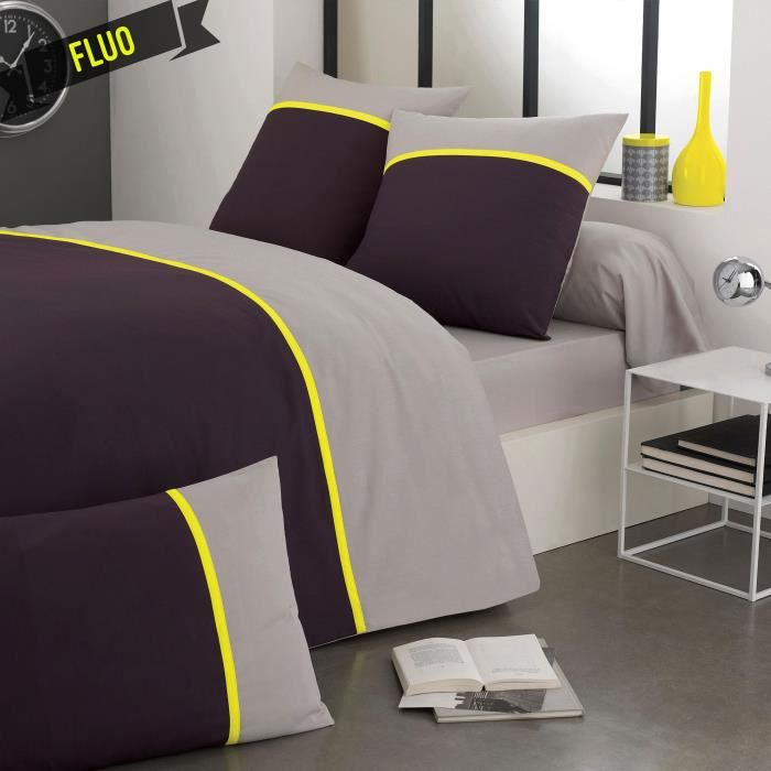 cotonflor fluo jaune housse de couette jaune 140 x 200. Black Bedroom Furniture Sets. Home Design Ideas