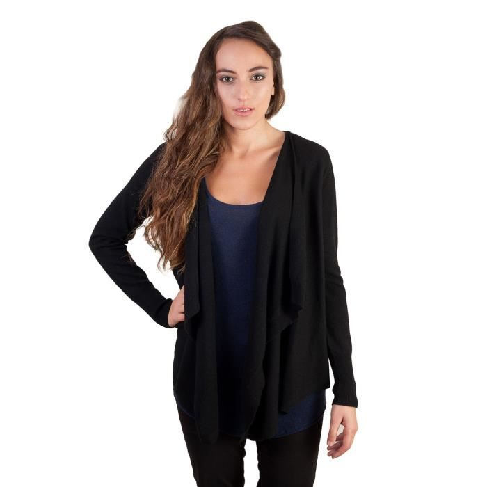 gilet cachemire femme uma noir blanc achat vente gilet cardigan cdiscount. Black Bedroom Furniture Sets. Home Design Ideas