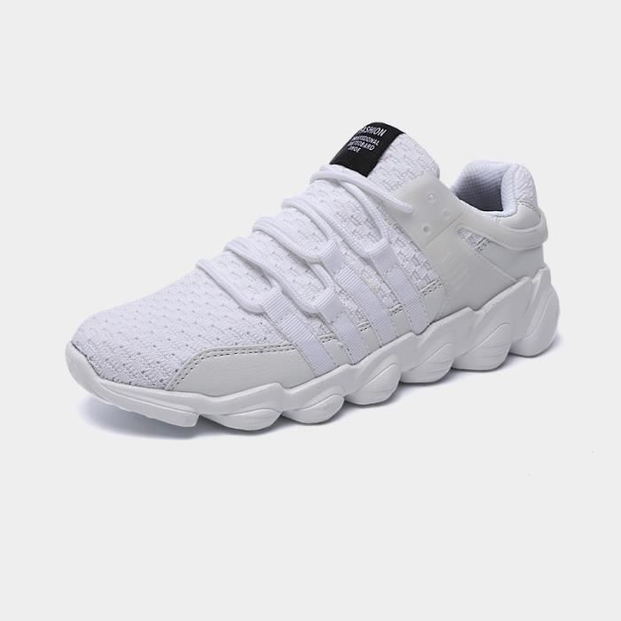 JOZSI Baskets Homme Chaussure hiver Jogging Sport Ultra Léger Respirant Chaussures DTG-XZ229Blanc43