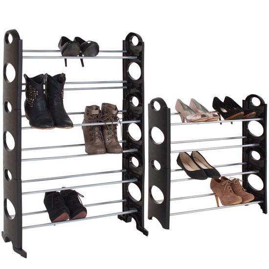 Étagère à chaussures 10 niveaux 60 Paires Chaussure Support Chaussures Tiroir Système d/'enfichage Armoire à chaussures