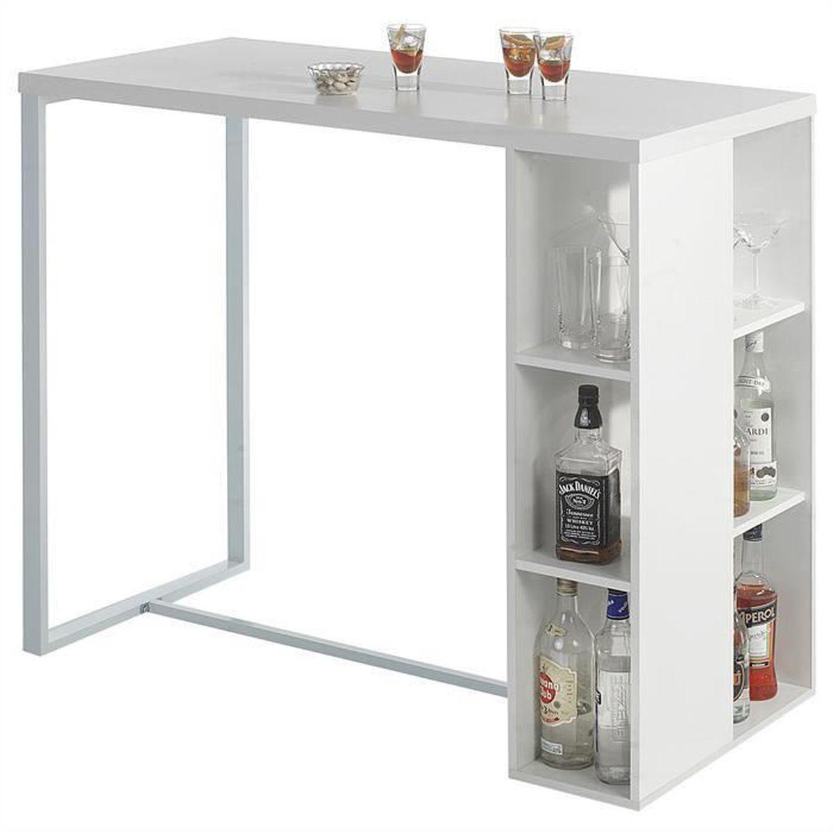 Sobuy Fwt39 W Table Haute De Bar Mange Debout Cuisine Avec 3 étagères De Rangements Blanc