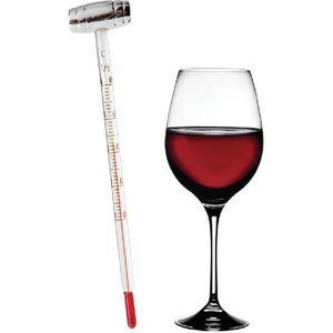 Thermomètre à vin analogique en verre 13 cm Transparent Œnologie