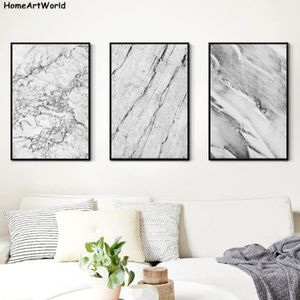 TABLEAU - TOILE Décor Nordique Gris et Blanc Abstrait Marbre Textu