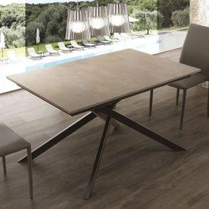 TABLE À MANGER SEULE Table avec rallonge effet ciment avec pieds noir A