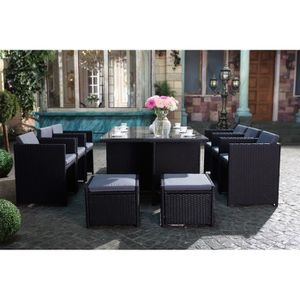 salon de jardin 10 places achat vente salon de jardin 10 places pas cher cdiscount. Black Bedroom Furniture Sets. Home Design Ideas