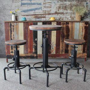 TABOURET DE BAR IKayaa Pub Bar Table + 2pcs Chaises Hauteur Réglab