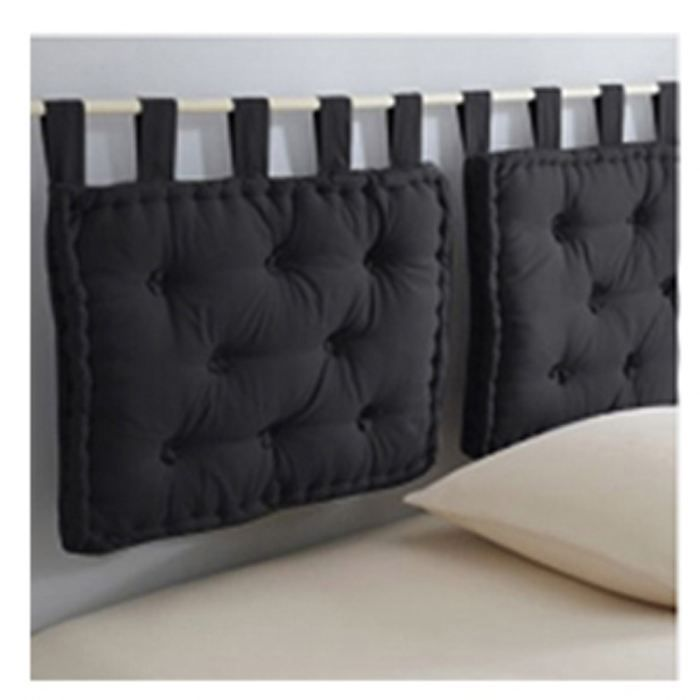 collection tara t te de lit 50x70 cm noir achat vente. Black Bedroom Furniture Sets. Home Design Ideas