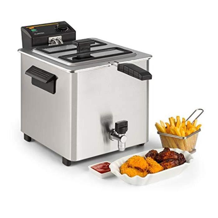 Klarstein Family Fry - Friteuse, 3000W, 8 Litres, Thermostat réglable en continu, Oil Drain Technologie, Zone de refroidissement, Bo