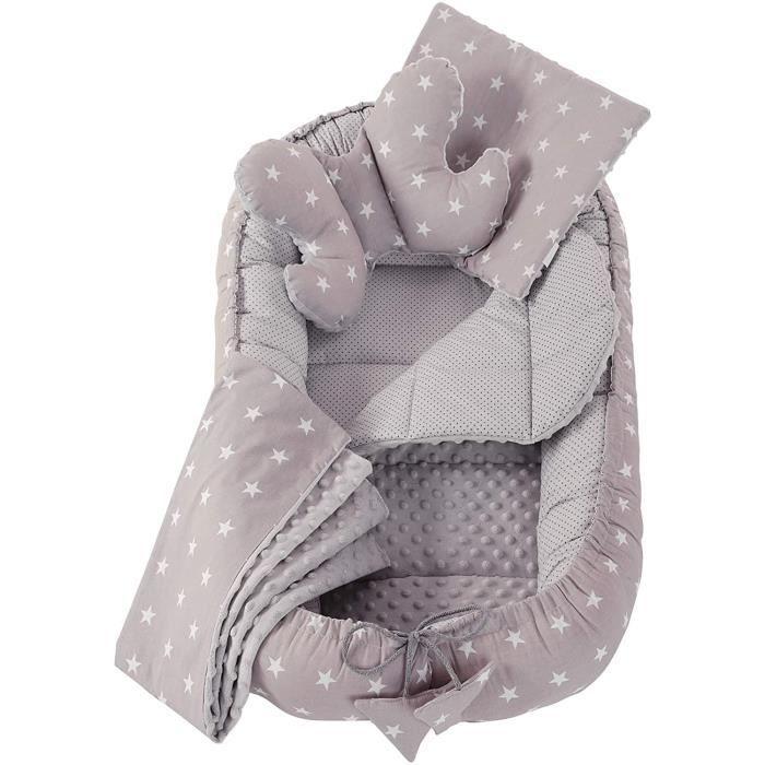 Réducteur de Lit 5 éléments bébé Cocon 90x50cm nouveau-né 100% Coton Baby nest Medi Partners couverture insérer coussin (Étoiles Gri