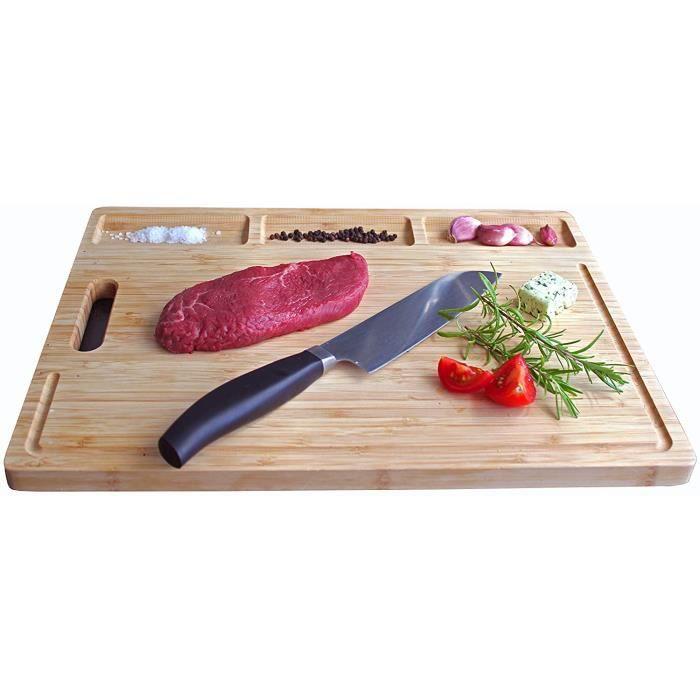 Planche à découper - Bambou - rectangulaire - XXL ✔ Antibactérien ✔ Gorge de jus intégrée ✔ Meilleure qualité ✔ 43,5 x 34,5 x 2 cm
