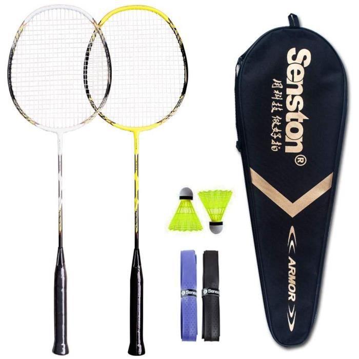 Senston Ensemble de Raquettes de Badminton à 2 Joueurs, Raquette de Badminton à Manche en Graphite - Comprenant 1 Sac de Badminton /