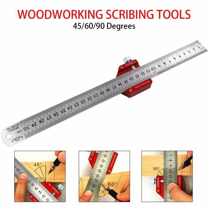 【TRACAGE METROLOGIE 】Outil de règle de trou de type T en bois pour règle de traçage de mesure d'échelle en aluminium de 300 mm