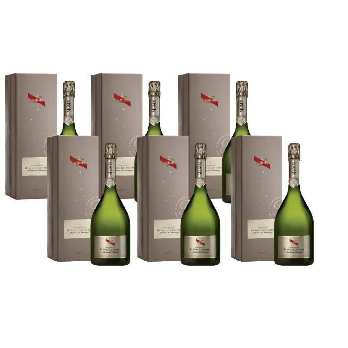 Lot de 6 Champagnes Mumm Blanc de Noirs avec coffret