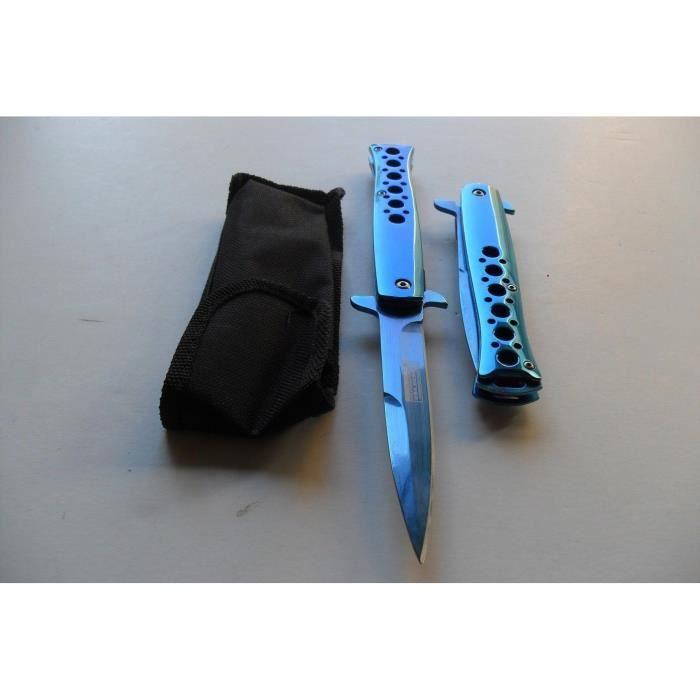 Couteau Style Titane Chromé Bleu Usa Design Lame Fine Acier Inoxydable - LaPetiteCaverne