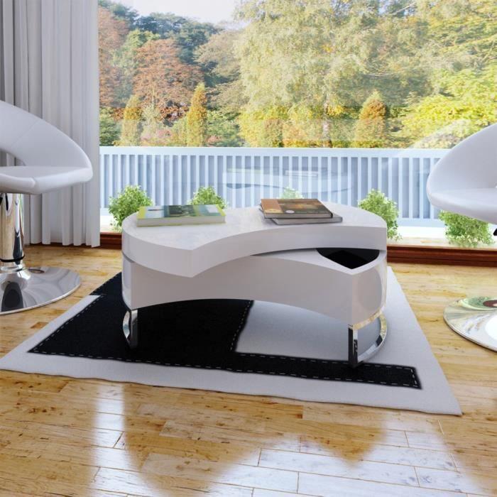 P56 Table basse pivotante en MDF blanche brillante laquee