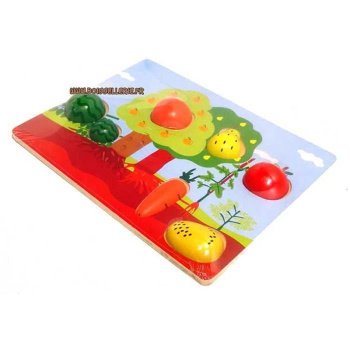 Puzzle en bois premier age fruits et légumes - Jeux premier âge - Jeux à manipuler - Puzzles premier âge