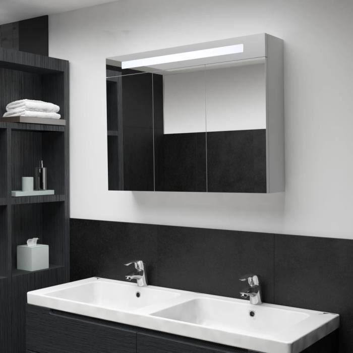 Magnifique Colonne salle de bain à miroir LED Design - Meuble Armoire de salle de bain Armoire de toilette 88x13x62 cm @42592