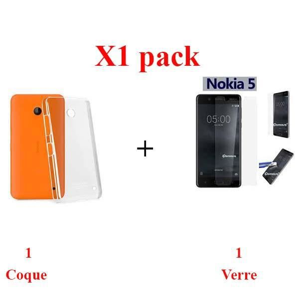 X1 pack pack coque + verre NOKIA 5.1 protection integrale