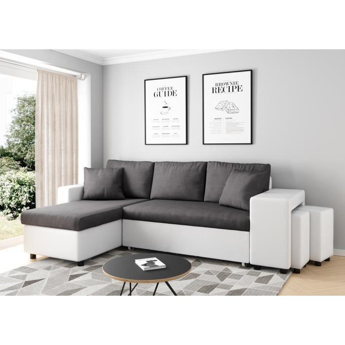Canapé d'angle gauche convertible Gris/Blanc avec coffre et poufs OSLO