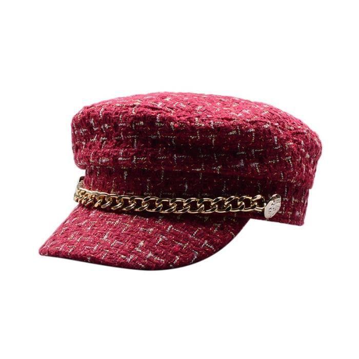 Chapeau militaire en laine pour femmes, chapeau de marin, noir, à dessus plat, de voyage, casquette de capitaine, béret [DCF64DB]